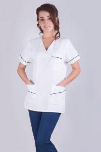 Bluza medyczna W20 damska - biała z lamówkami