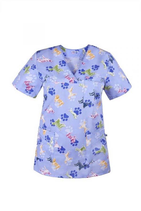 Bluza medyczna we wzory - krótki rękaw