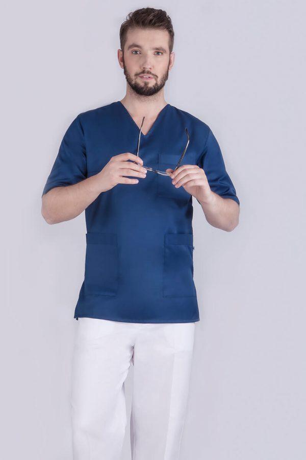Bluza medyczna męska - granatowa z kieszeniami
