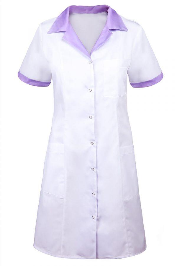 Fartuch kosmetyczny biały z fioletowymi lamówkami