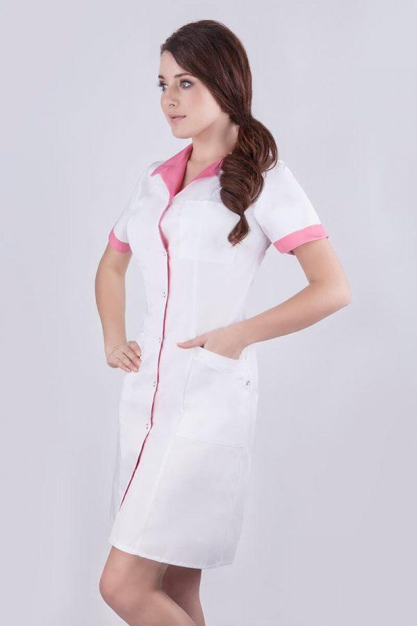 Fartuch kosmetyczny biały z różowymi elementami