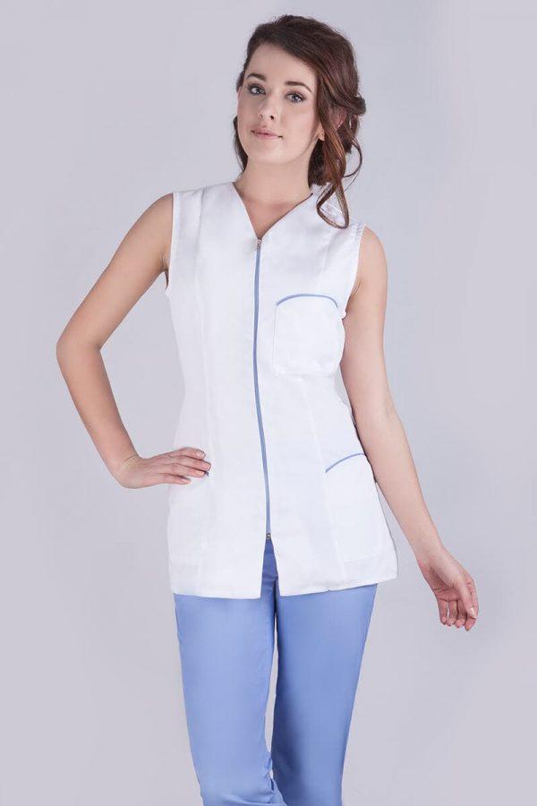 kamizelka damska biała na suwak kamizelka medyczna
