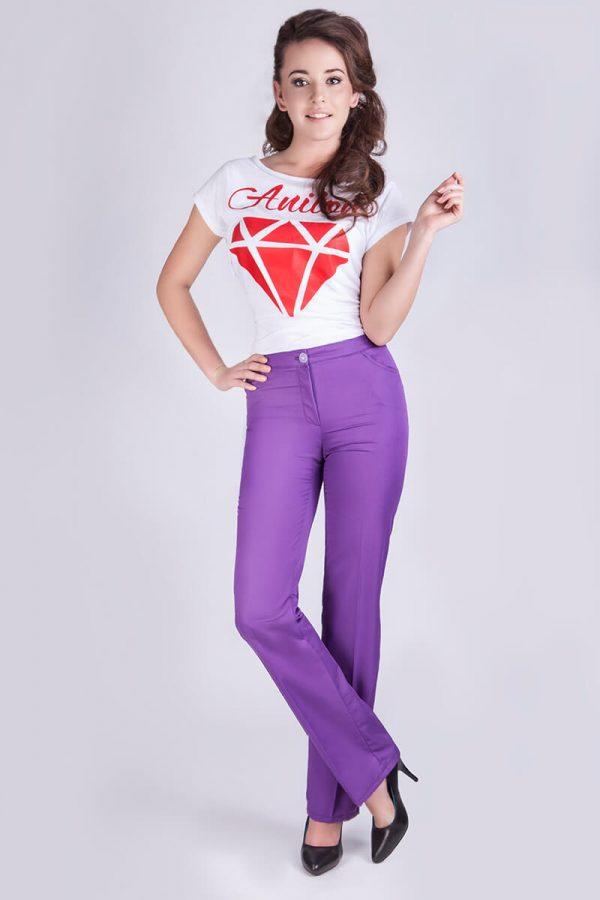 klasyczne spodnie medyczne damskie fioletowe