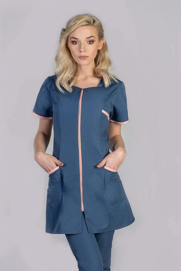 Kolorowa tunika medyczna damska z krótkim rękawem