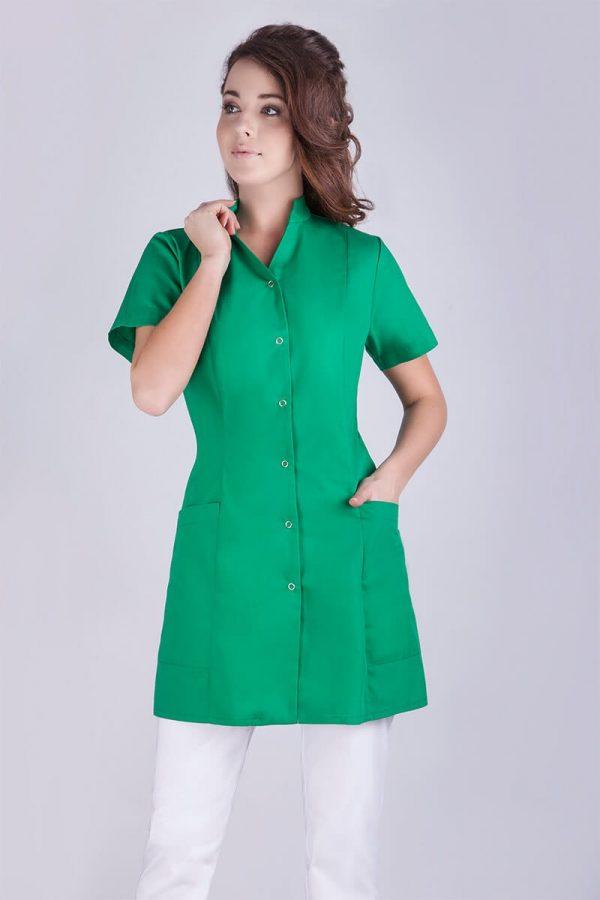 tunika medyczna na napy zielona z krótkim rękawem