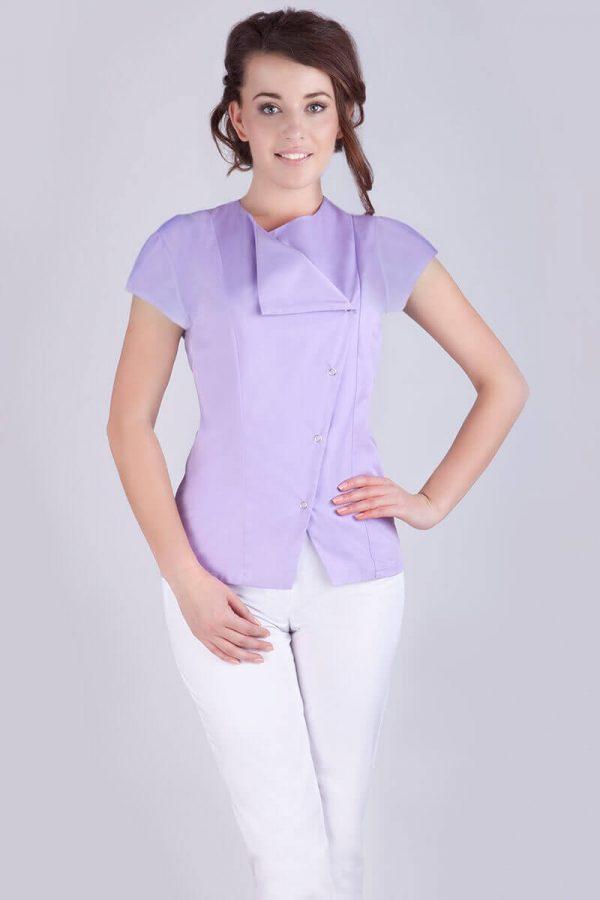Żakiet medyczny damski z krótkim rękawem - lawendowy kolor