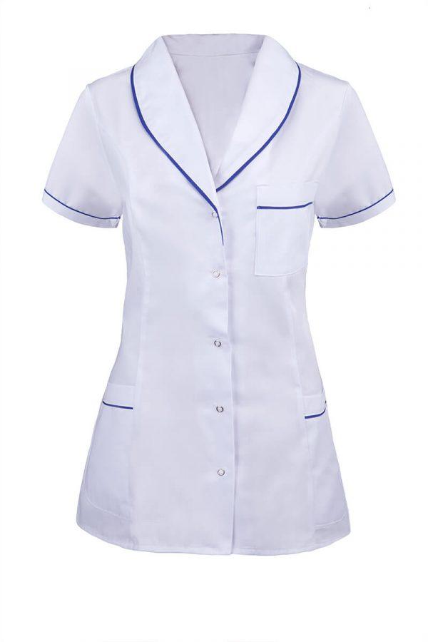biały z krótkim rękawem i niebieskimi lamówkami