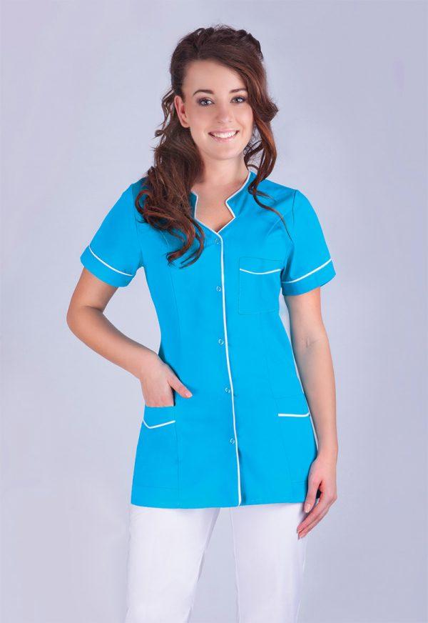 Kolorowy żakiet medyczny - błękitny z białą lamówką