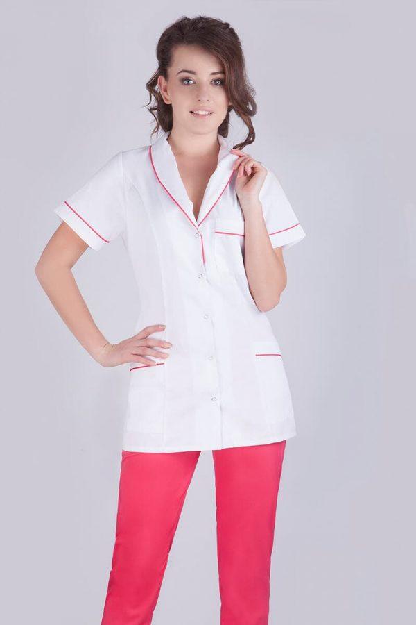 Żakiet medyczny biały z krótkim rękawem i różowymi lamówkami