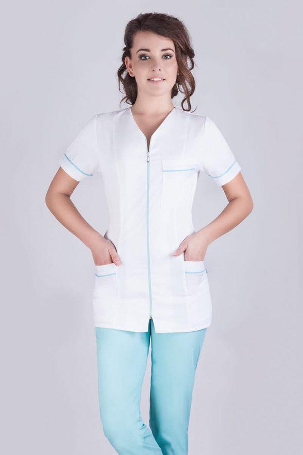 Biały żakiet medyczny damski z niebieską lamówką i krótkim rękawem