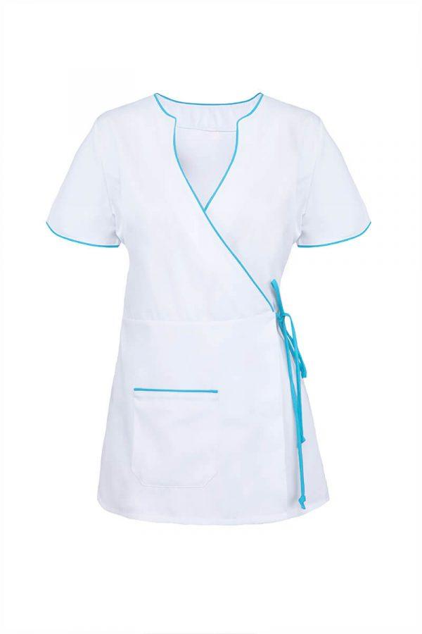 Biały żakiet medyczny z wiązaniem w pasie