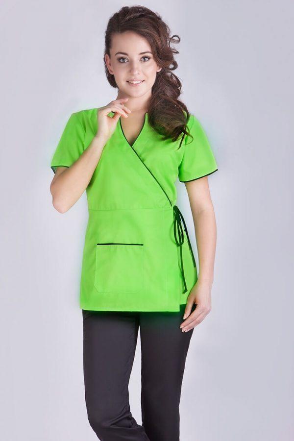 Zielony żakiet medyczny z wiązaniem w pasie