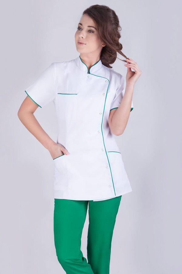Żakiet medyczny damski biały z zieloną lamówką