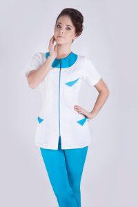 damski żakiet medyczny biało-niebieski
