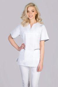 Damska bluza medyczna biała z krótkim rekawem