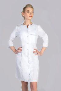 Biały fartuch kosmetyczny z długim rękawem