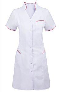 Biały fartuch medyczny damski z kolorowymi lamówkami