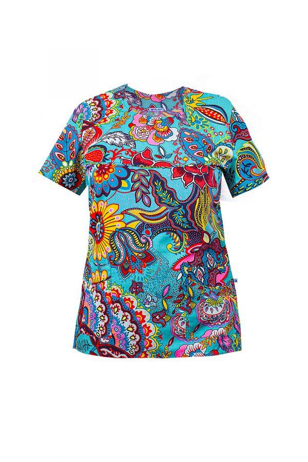 bluza medyczna bawełniana damska wzorzysta