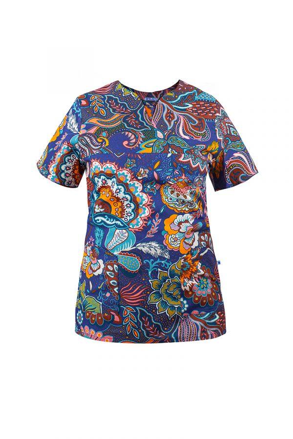 bluza medyczna bawełniana w kwiaty W20d